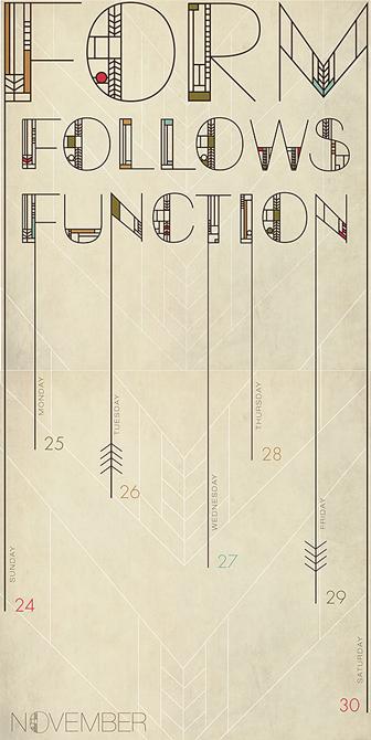 "Type calendar design ""form follows function"" - LSU BFA Studio Art Graphic Design"