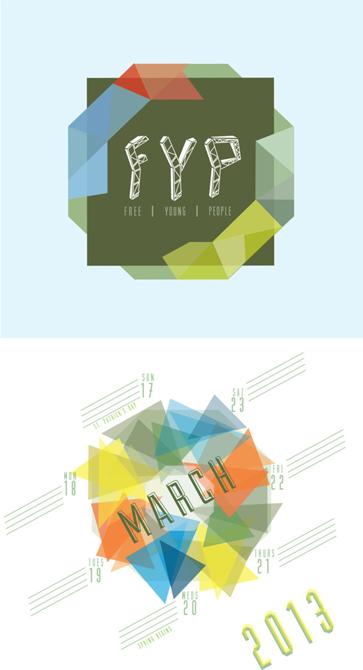 Calendar design with green, yellow, orange geometric shapes. LSU BFA Studio Art Graphic Design