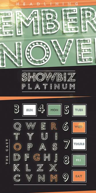 Showbiz platinum theme calendar, LSU BFA Studio Art Graphic Design
