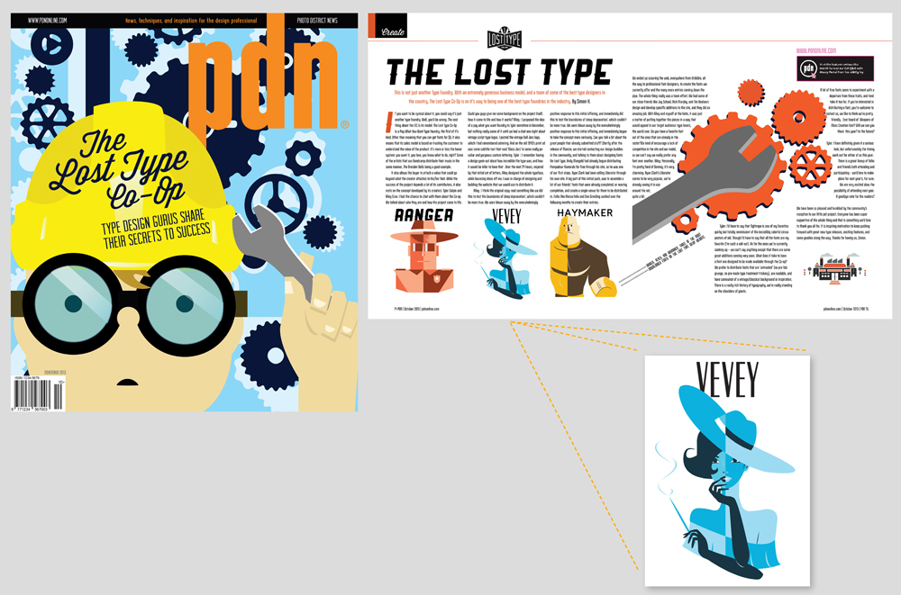 """Magazine spread with theme """"The Lost Type Co-op"""", graphic of boy in goggles, yellow hardhat. LSU BFA Studio Art Graphic Design"""