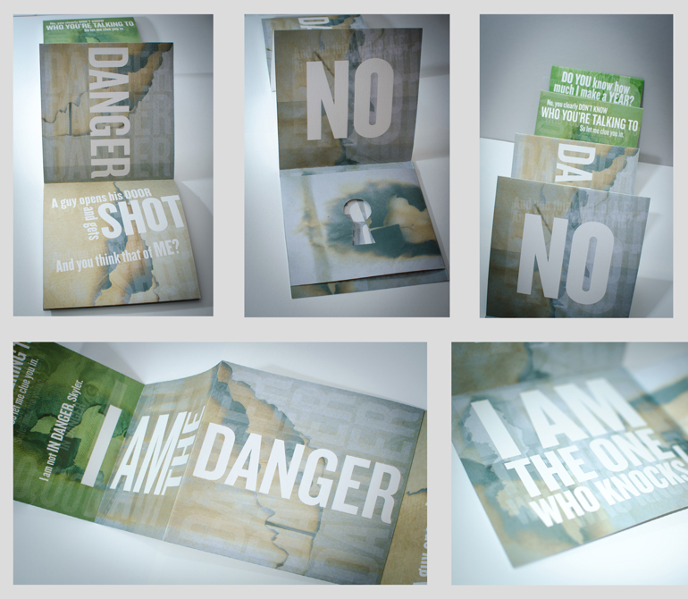 "Booklet with ""I am the danger"" and watercolor-style background, LSU BFA Studio Art Graphic Design"
