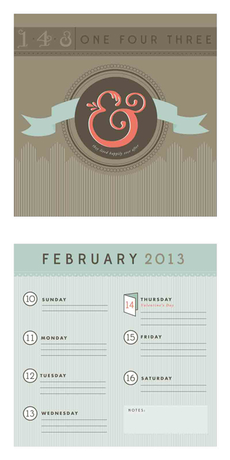 """143"" calendar design with grey, pale blue accents. LSU BFA Studio Art Graphic Design"