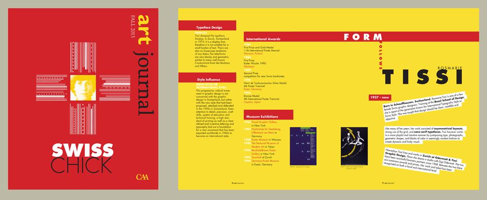 Swiss Chick art journal design, red and yellow, LSU BFA Studio Art Graphic Design