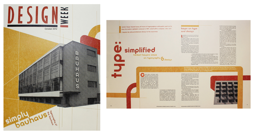 Magazine spread Design Week, LSU BFA Studio Art Graphic Design