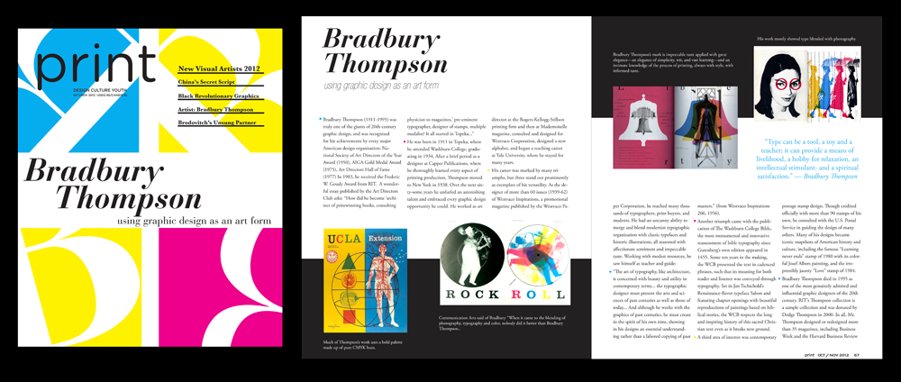 "Magazine spread ""Bradbury Thompson"" - LSU BFA Studio Art Graphic Design"