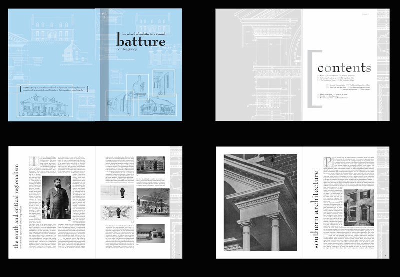 Architecture journal Batture design, LSU BFA Studio Art Graphic Design