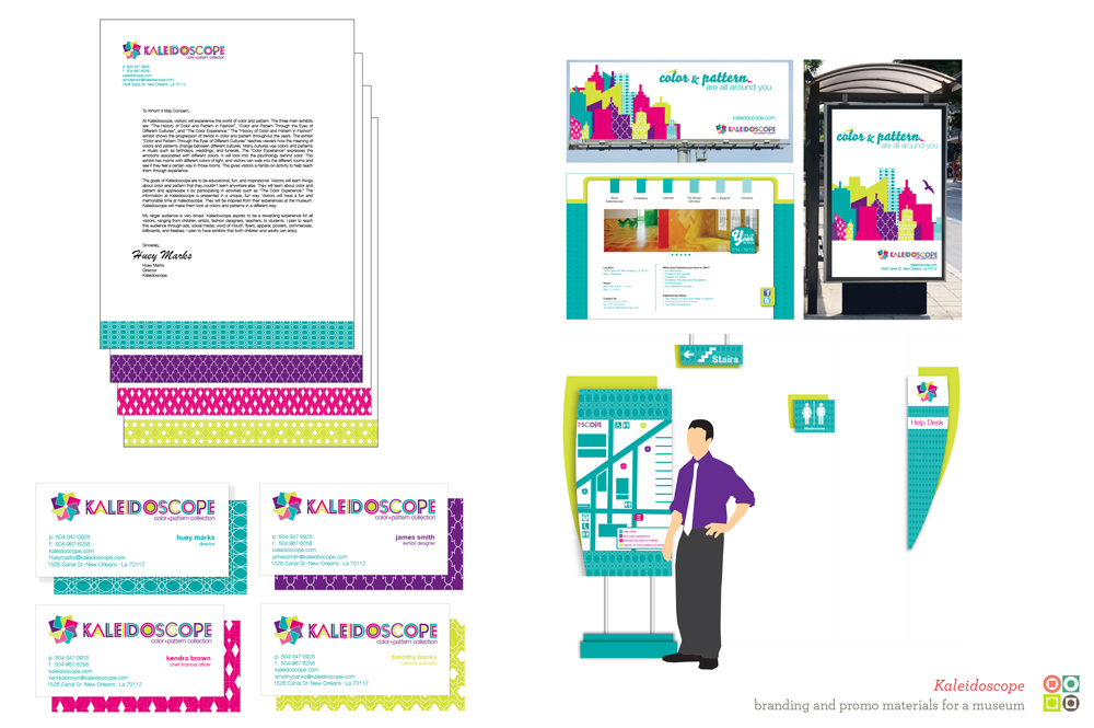 Kaleidoscope Museum branding, colorful patterns in turquoise, pink, purple, yellow. LSU BFA Studio Art Graphic Design