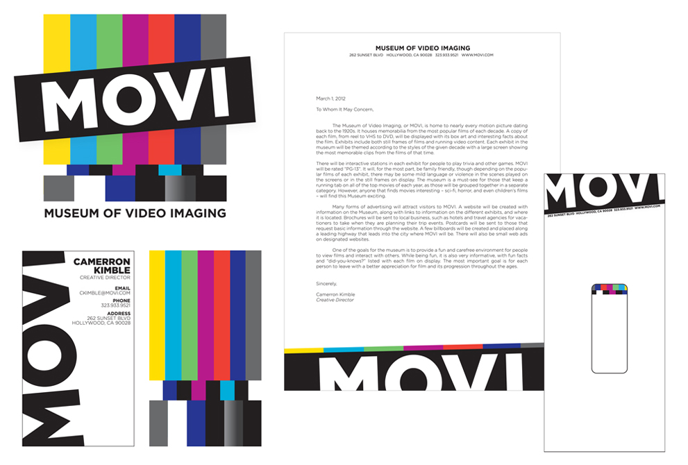 Movi Museum of Video Imaging branding design, LSU BFA Studio Art Graphic Design
