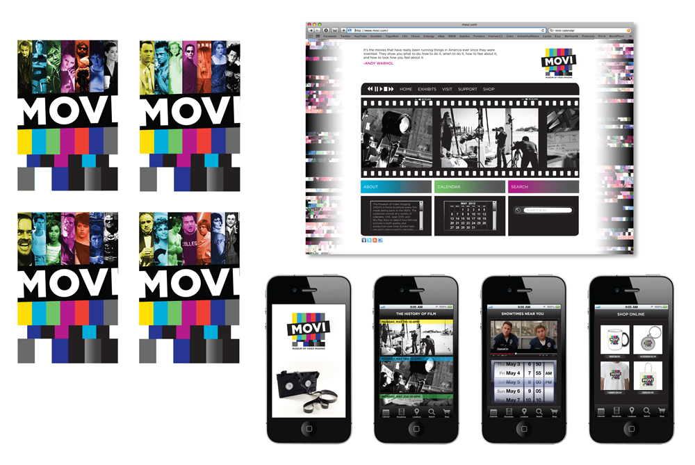 Movi Museum branding design for logo, website, mobile site. LSU BFA Studio Art Graphic Design