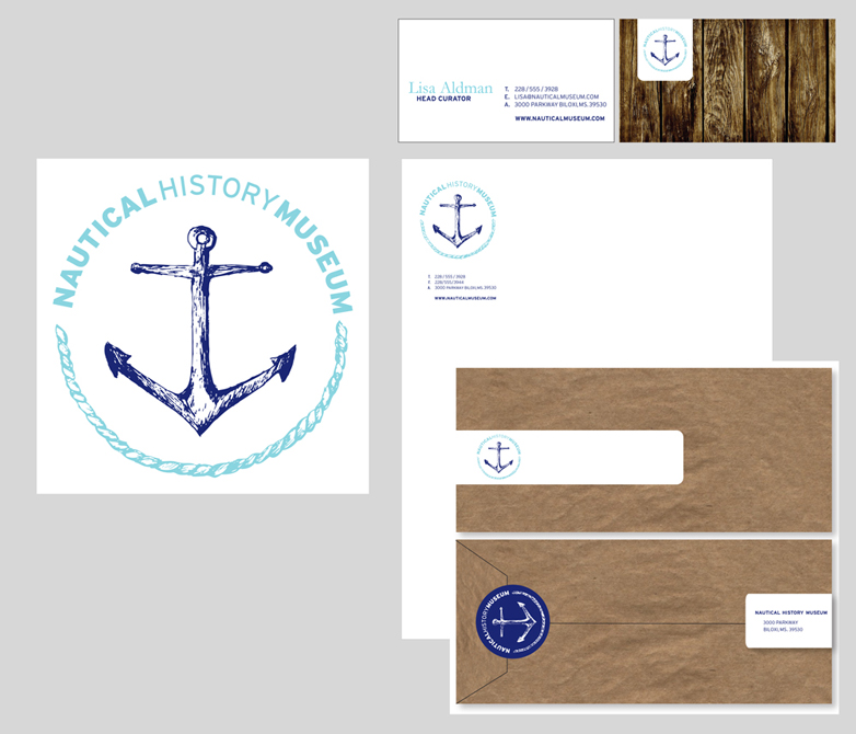 Nautical History Museum brand themes with anchor, rope logo, letterhead, envelope designs. LSU BFA Studio Art Graphic Design