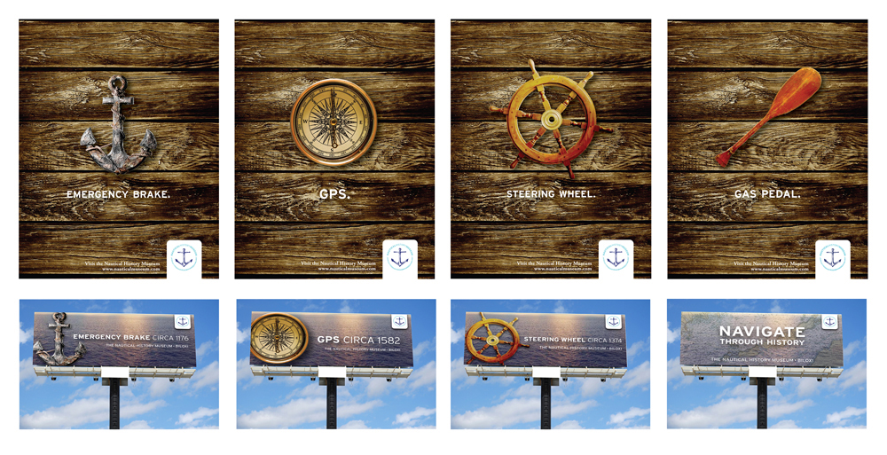 Nautical themed billboard designs. LSU BFA Studio Art Graphic Design