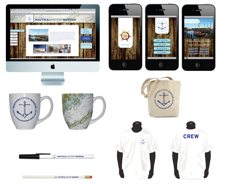 Nautical History Museum branding design on websites, mobile site, mugs, tote bags, t-shirts, pens. LSU BFA Studio Art Graphic Design