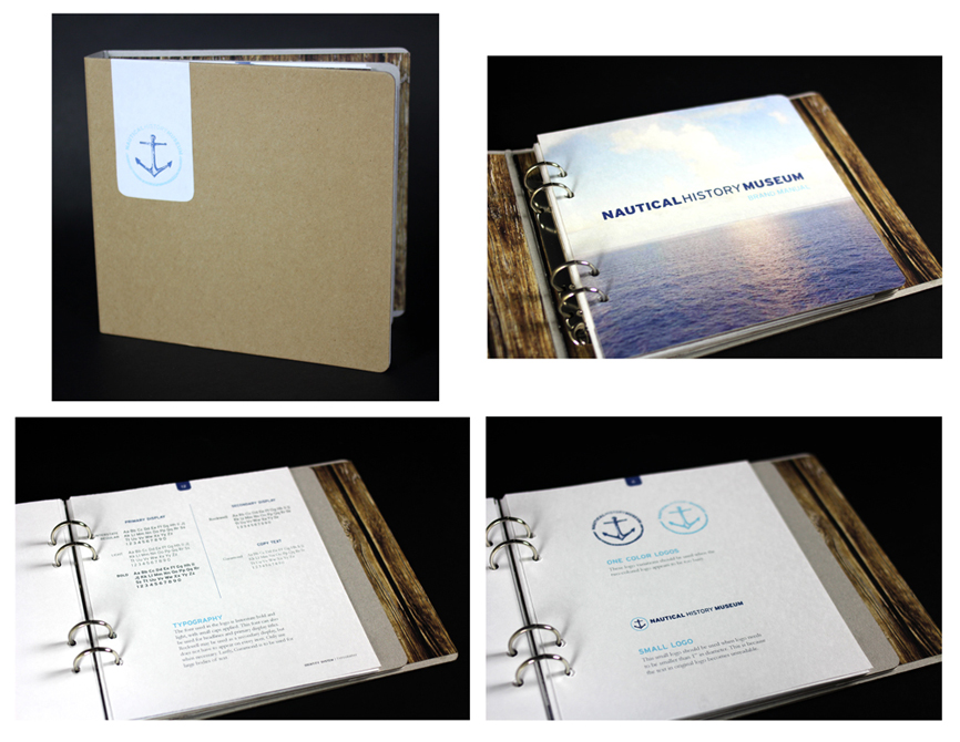 Nautical History Museum branding guide, LSU BFA Studio Art Graphic Design
