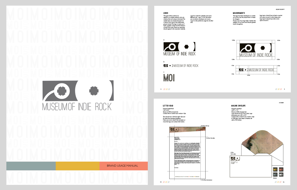 Museum of Indie Rock brand usage manual, with logos, measurements, letterhead, mailing envelope designs. LSU BFA Studio Art Graphic Design