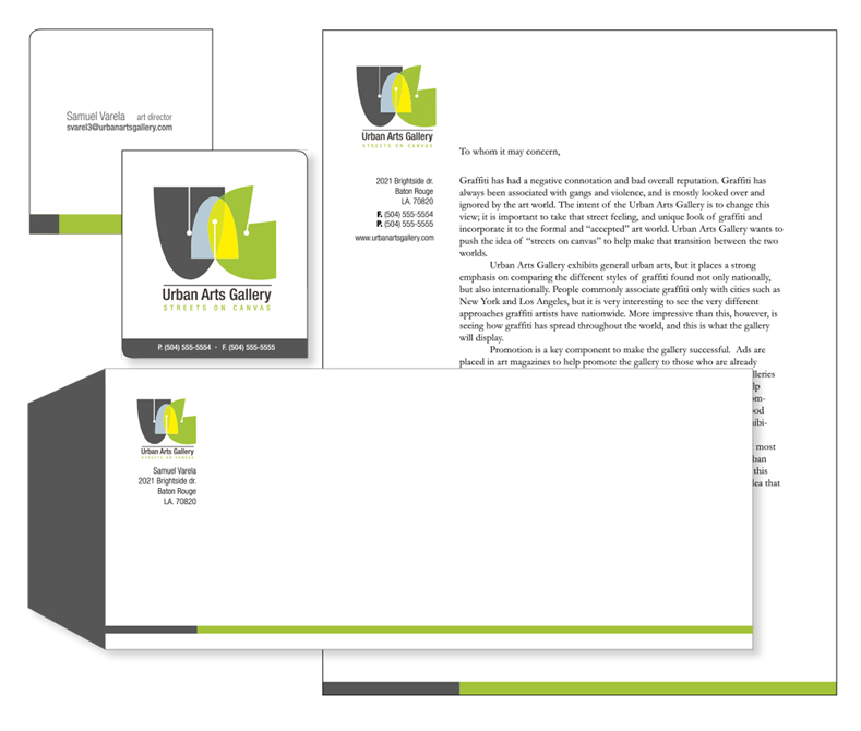 Urban Arts Gallery branding: logo, letterhead, business card designs. LSU BFA Studio Art Graphic Design