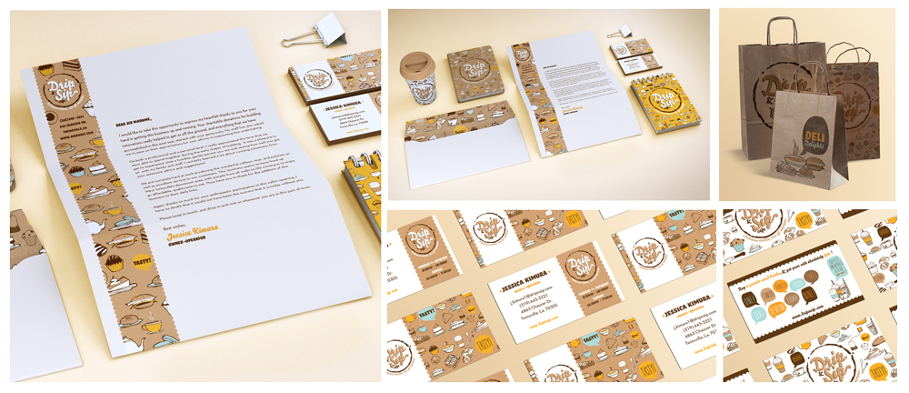 """Drip Sip"" branding, logo, business cards, letterhead, cup, bags. LSU BFA Studio Art Graphic Design"