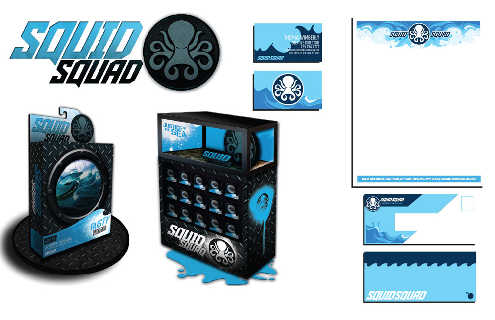 Squid Squad toy packing design, blue and black. LSU BFA Studio Art Graphic Design