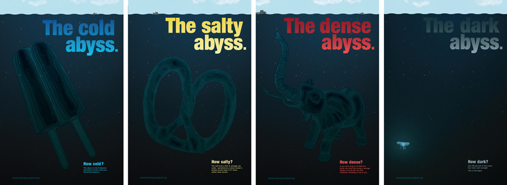 "Four panels ""the cold abyss"" with popscile, ""the salty abyss"" with pretzel, ""the dense abyss"" with elephant, ""the dark abyss"" with darkness. LSU BFA Studio Art Graphic Design"