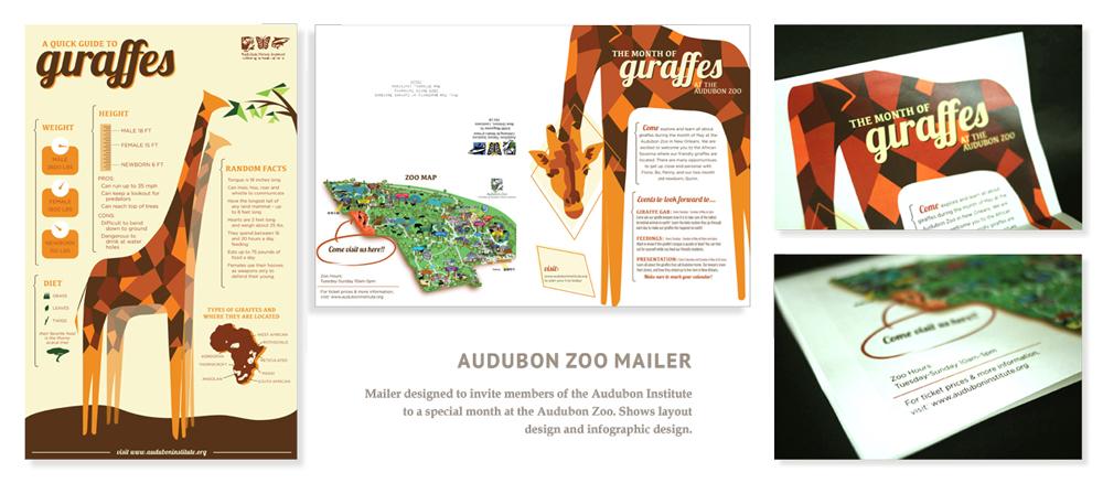 "Audobon zoo mailer ""A quick guide to giraffes"" design, LSU BFA Studio Art Graphic Design"