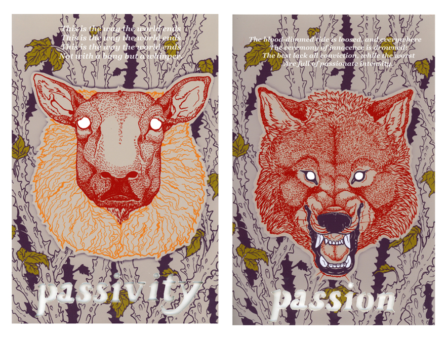 Quote poster with passivity & sheep, passion & snarling wolf. LSU BFA Studio Art Graphic Design