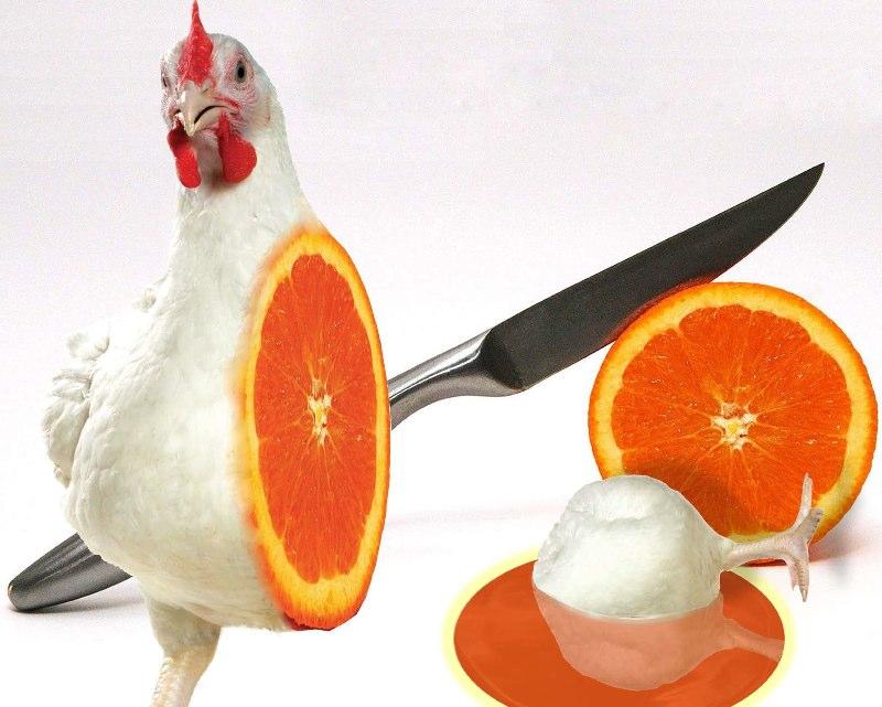 Chicken cut in half with orange fruit inside, knife in background. LSU BFA Studio Art Digital Art