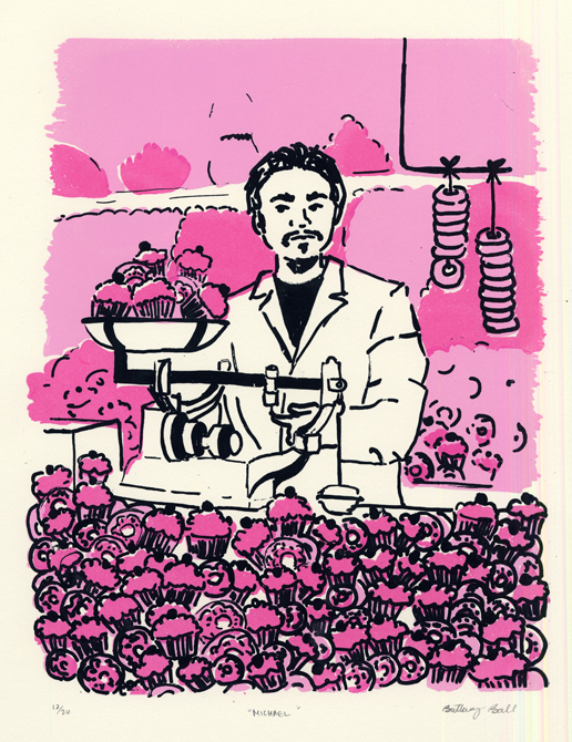 Male figure surrounded by cupcakes and donuts, pink background. LSU BFA Studio Art Printmaking