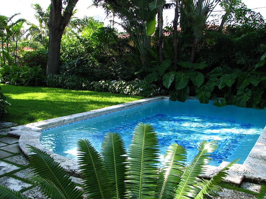 Outdoor pool designed by Lewis Aqui, lsu landscape architecture alumni work