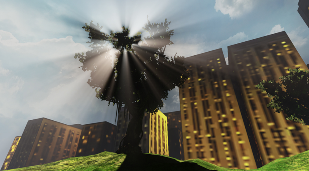 Simulation of buildings, sunlight shafts filtered through tree