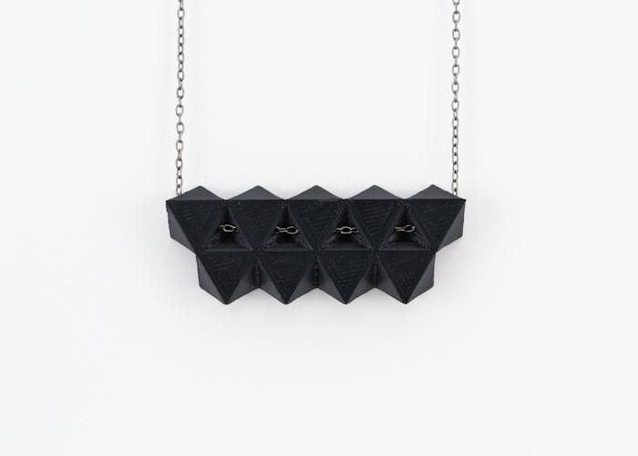 Fabricated black geometric model, lsu architecture alumni work