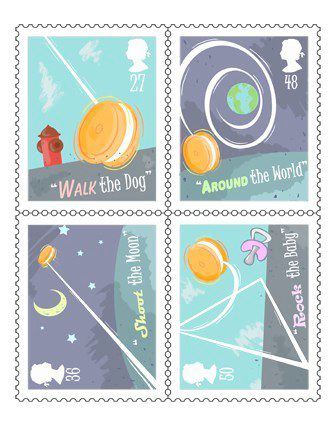 "Stamp designs with themes ""walk the dog"" ""Around the world"" ""shoot the moon"" ""rock the baby"" LSU BFA Studio Art Graphic Design"