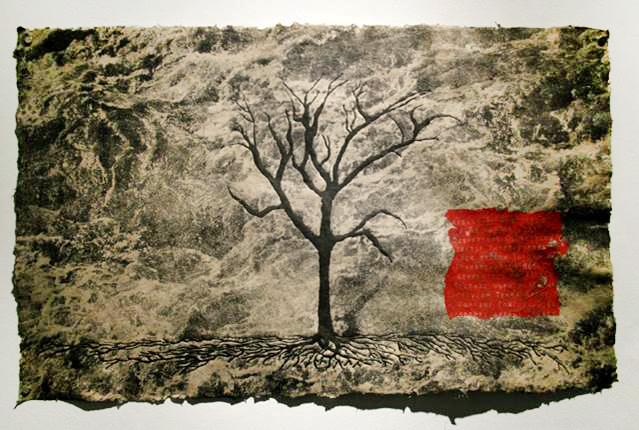 Print of tree, red square. LSU BFA MFA Studio Art Printmaking Papermaking