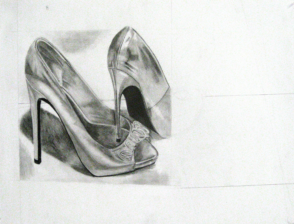 High heeled shoes drawing. BFA Studio Art Foundations