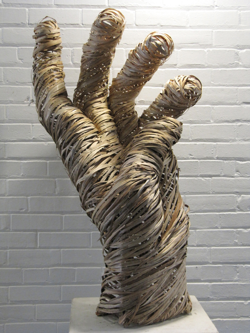 Hand shaped from rattan. LSU BFA Studio Art Sculpture