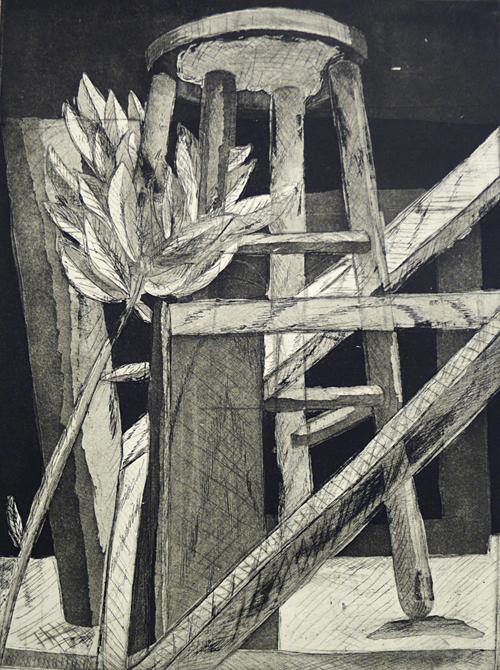 Drawing of a stool, LSU BFA Studio Art Printmaking