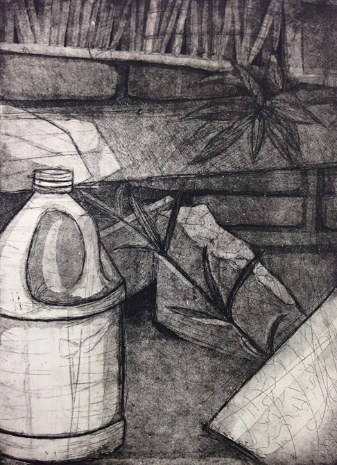 Drawing of milk jug, LSU BFA Studio Art Printmaking