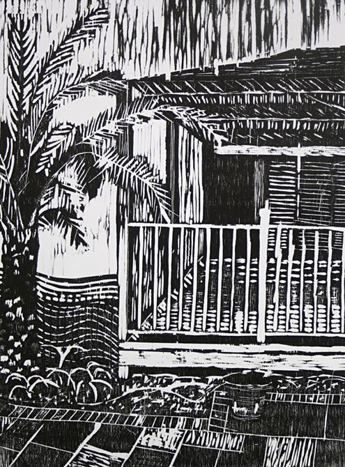 Bayou house and palm, LSU BFA Studio Art Printmaking