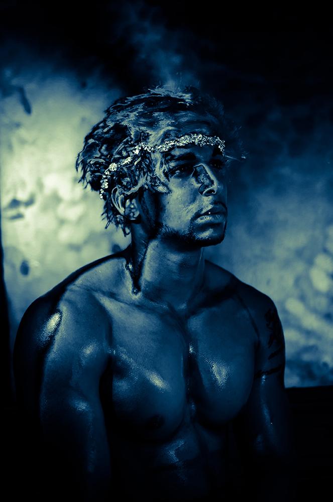 Young man in body paint, LSU BFA Studio Art Photography