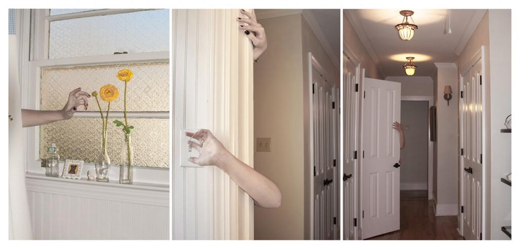 Arms reaching around doorways in home, LSU BFA Studio Art Photography