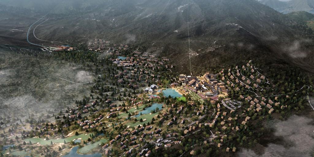 Aerial rendering of Denver mountain region, lsu landscape architecture alumni work