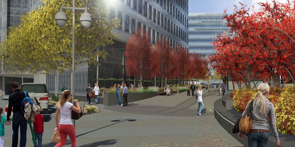 Rendering of city plaza with trees