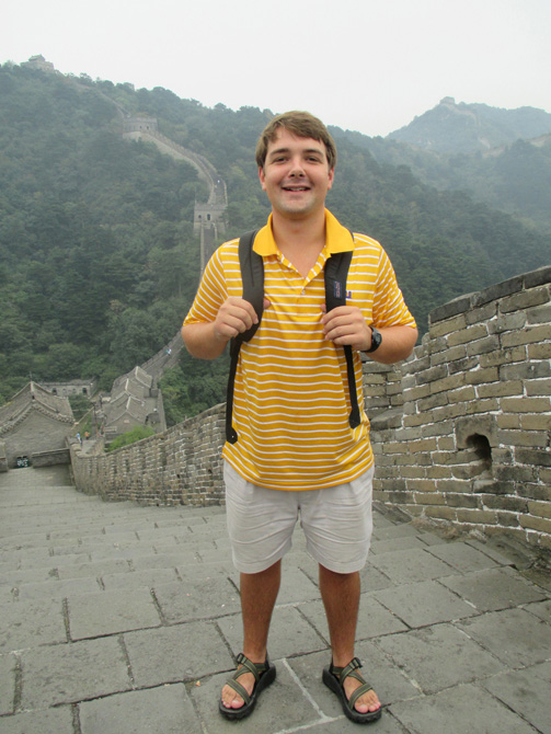 Boy on Great Wall of China