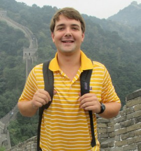 Student Kevin Mckee with Great Wall of China in the background