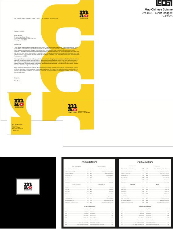Mao Chinese cuisine branding document, LSU BFA Studio Art Graphic Design