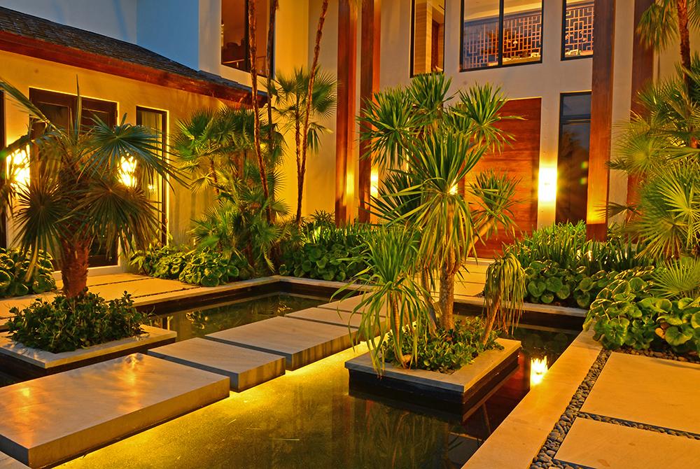 Tropical garden at twilight, lsu landscape architecture alumni work