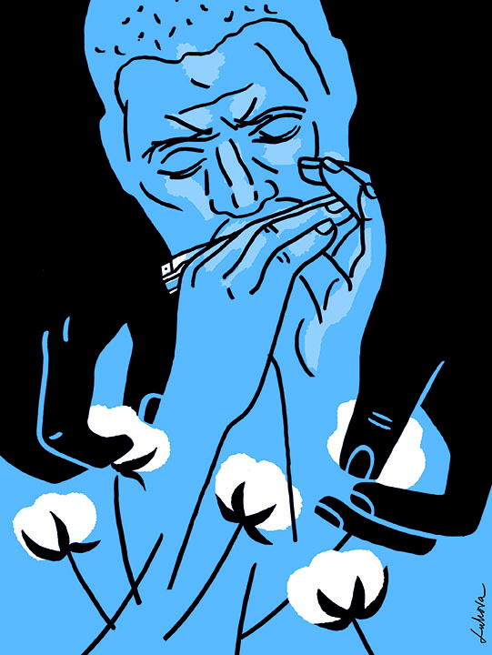blue man playing harmonica, luba lukova visiting artist