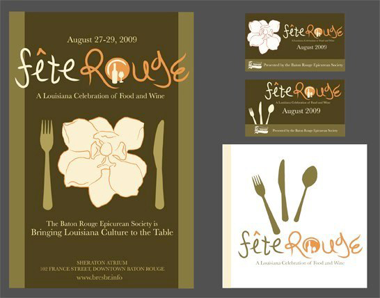 Poster for Fete Rouge Louisiana celebration of food and wine. LSU BFA Studio Art Graphic Design