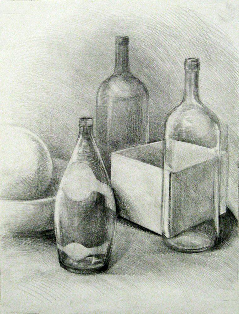 Bottles drawing. BFA Studio Art Foundations