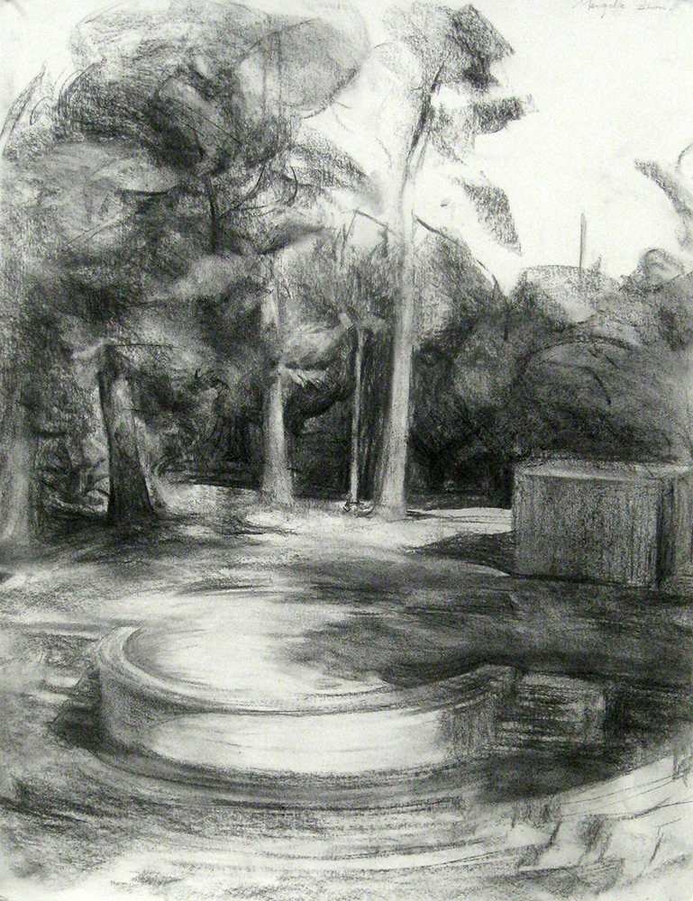 Charcoal drawing of park, BFA Studio Art Foundations