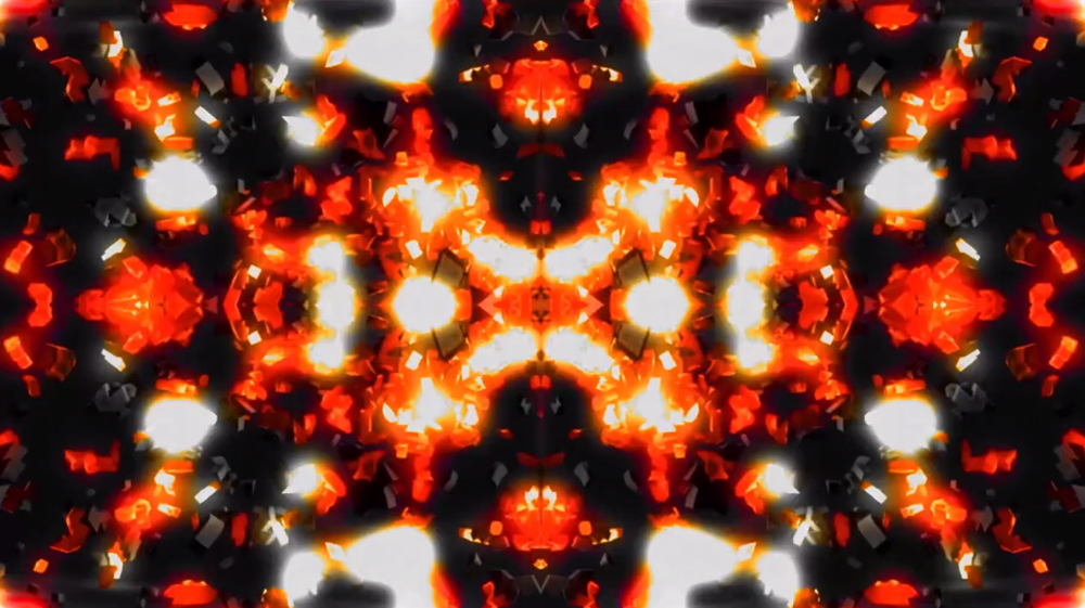 Bright glowing geometric patterns in red. Moving Image by Ethan Casiello.