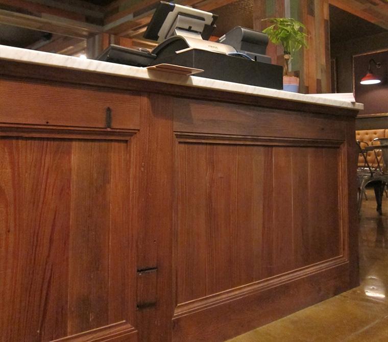 Wood counter, lsu architecture alumni work